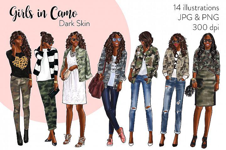 Fashion illustration clipart - Girls in Camo - Dark Skin