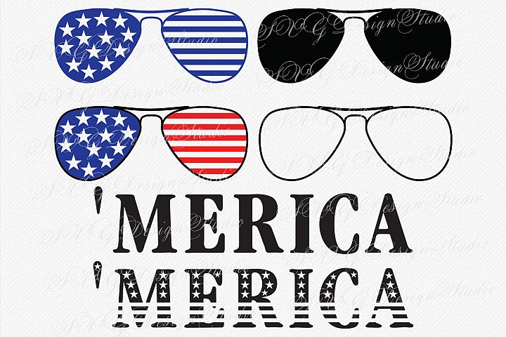 Merica Sunglasses SVG America Sunglasses Fourth of July SVG 4th of July Patriotic SVG Sunglasses