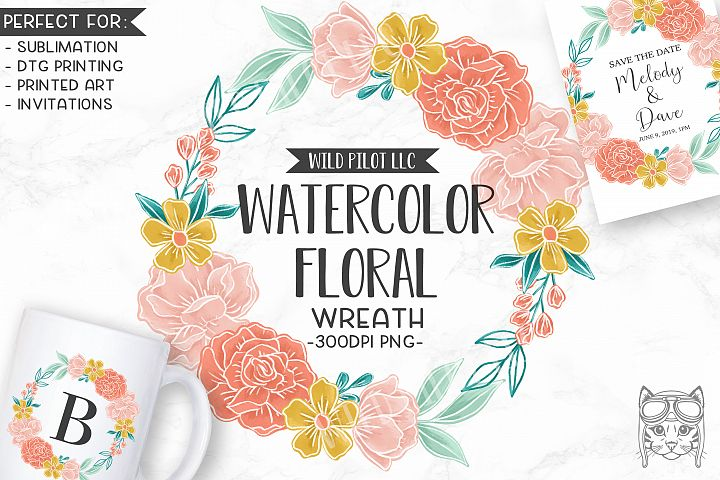 Watercolor Flower Wreath Clipart, Watercolor Floral png