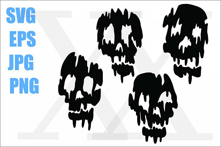 Skull Melting - SVG EPS JPG PNG