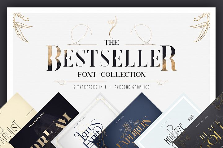 Bestseller font collection 6 typefaces in 1
