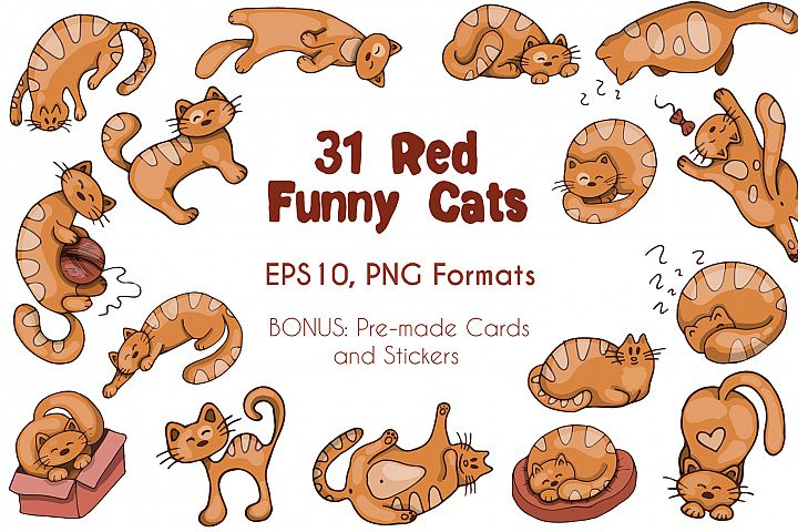 Funny Red Cats - Vector Set