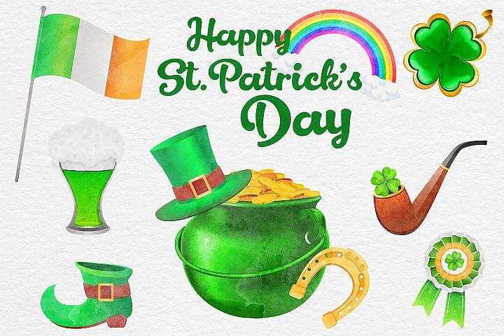 St Patricks Day Watercolor Clipart, Irish Watercolor Clipart