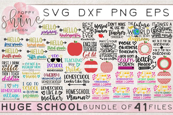 HUGE School Bundle of 41 SVG PNG EPS DXF Cutting Files