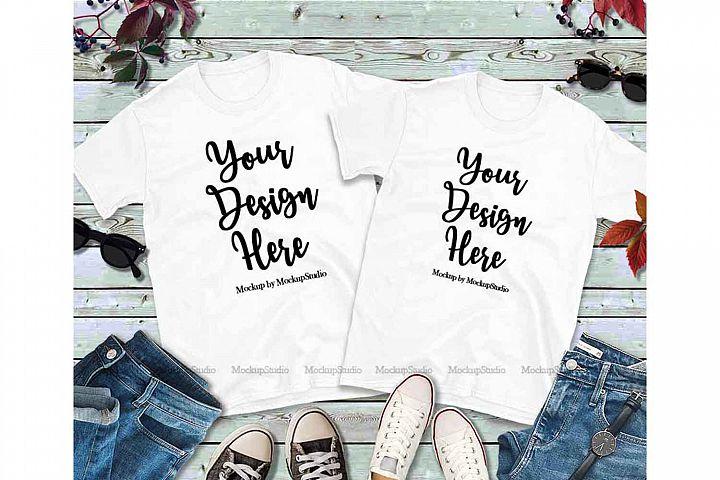 Matching Couples White T-Shirts Mockup, Two Shirts Mock Up