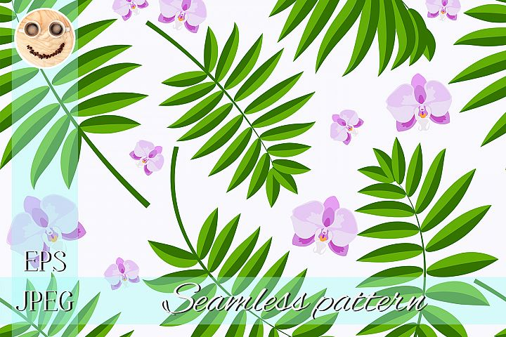 Purple orchid green palm branch on white seamless pattern