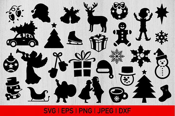 Christmas Silhouette bundle, Xmas Silhouette Svg