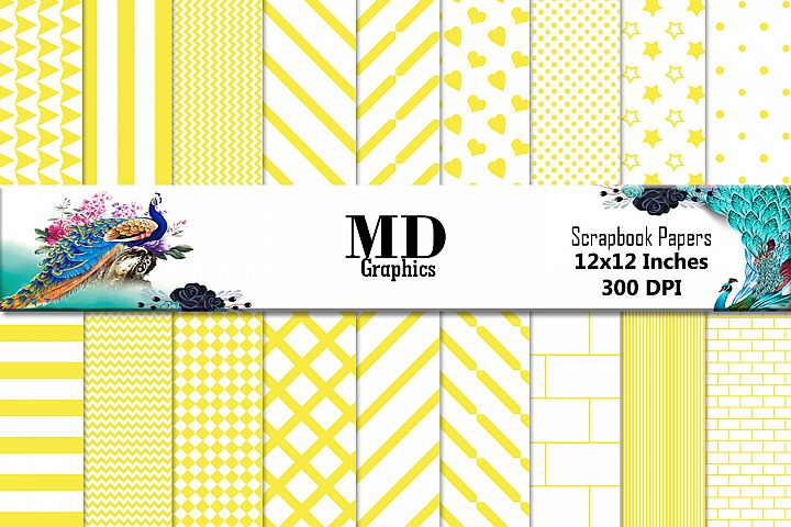 Yellow Papers, Yellow Scrapbook, Digital Download, Papers