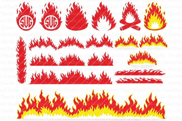 Fire SVG, Flames SVG, Flame Monogram, Flame Clipart,