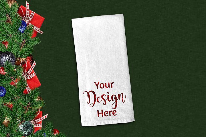 Christmas Dish Towel Flat Lay Mockup Green JPG