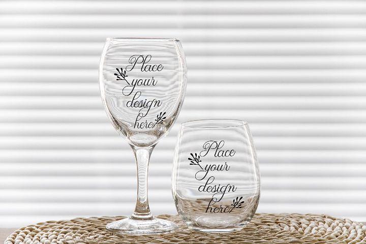 PSD stemless and wine glass mockup 2 wineglasses mockups
