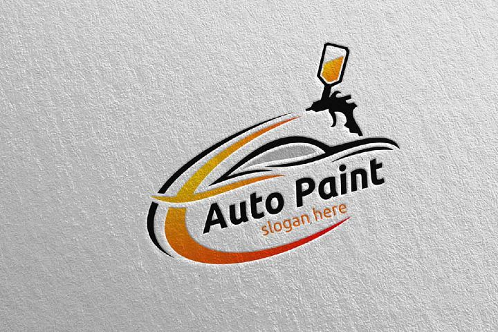 Car Painting Logo with Spray Gun and Sport Car Concept 2