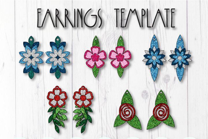 Flower earrings template SVG, DIY earrings template bundle