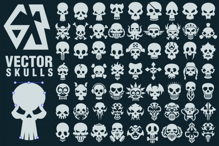 63 Vector Skulls Collection