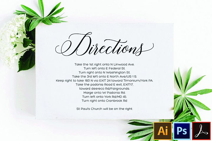 Directions Card Template Printable Directions Card Wedding