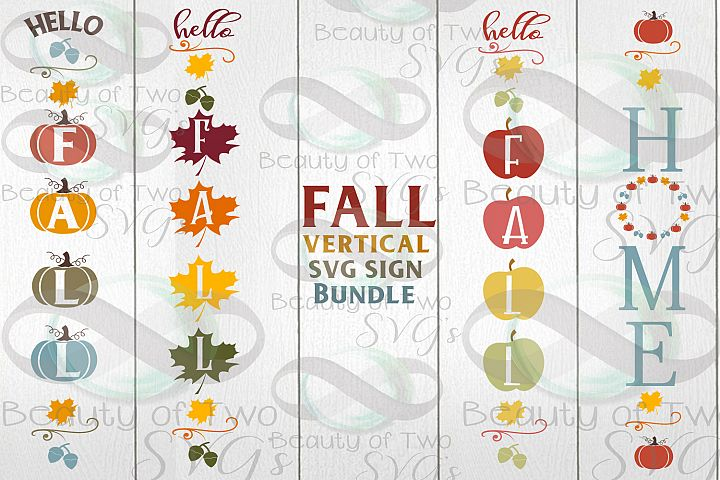 Fall Vertical svg Sign Bundle, 4 Fall Farmhouse svg designs