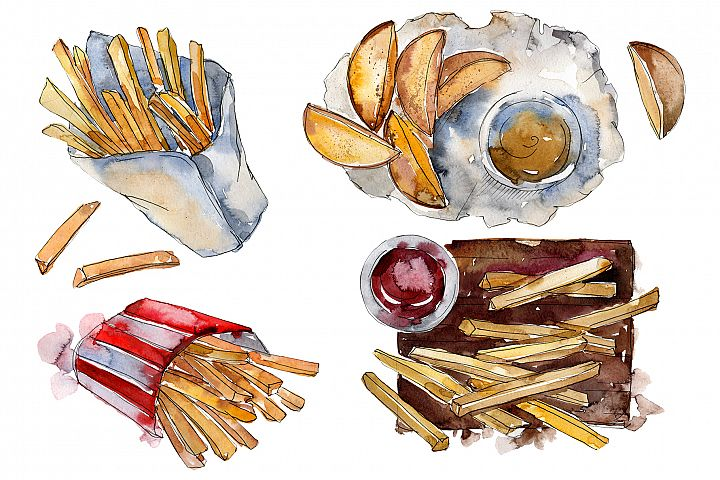 Watercolor French fries PNG