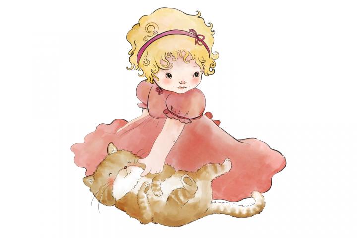 Little Girl and Cat |Clip Art Illustration | PNG/JPEG