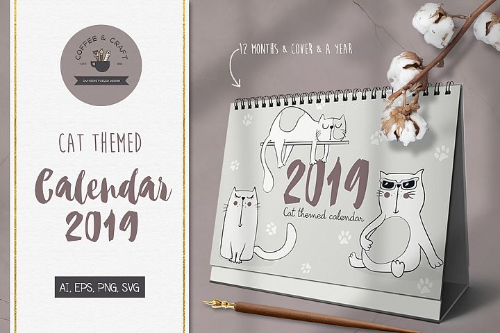 Cat Themed Calendar 2019