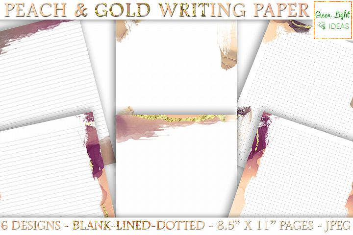 Peach and Gold Writing Paper, Printable Letter Stationery