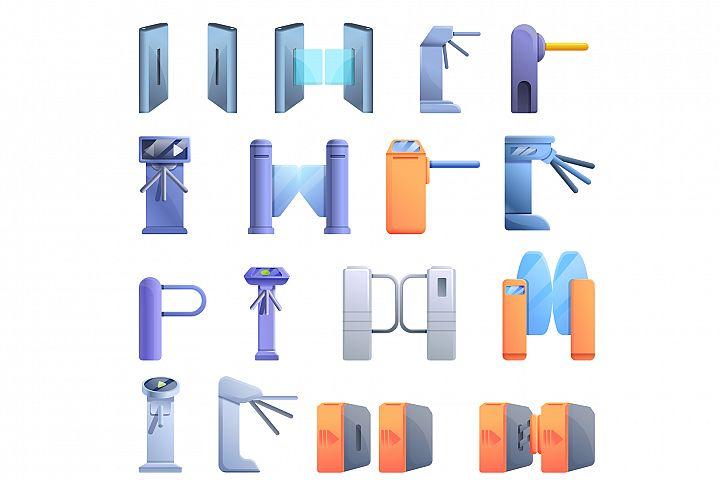 Turnstile icons set, cartoon style