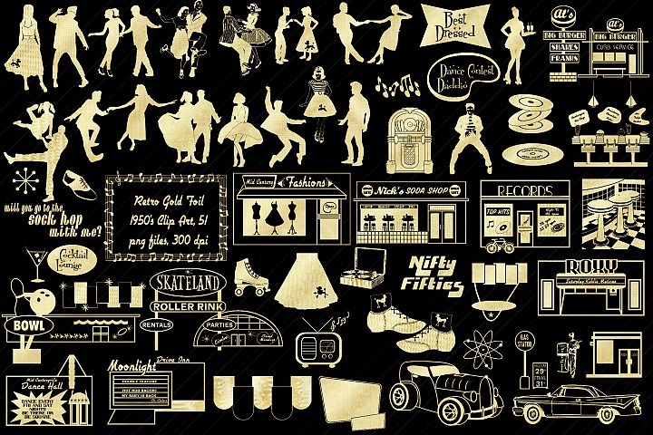 Retro 1950s Gold Foil Life and Party ClipArt