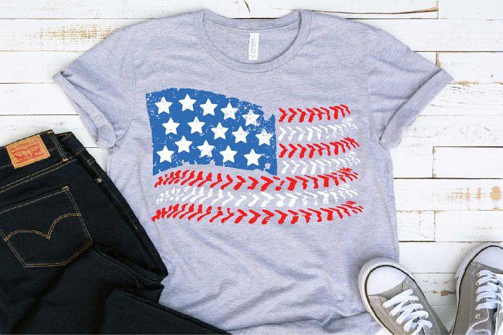USA baseball Flag svg Softball Red White Blue 1413s