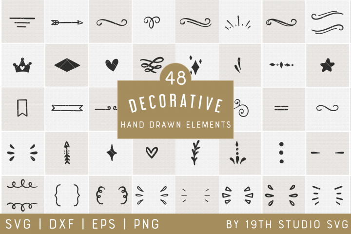 Decorative Hand drawn Elements | Decorative SVG Bundle| VB35
