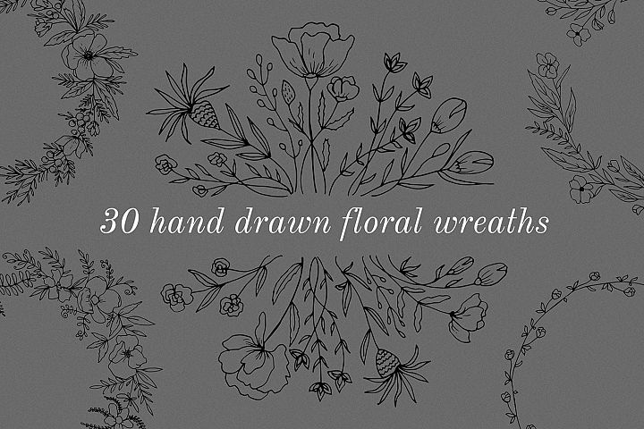 30 Hand drawn floral wreath. Simple line drawing.