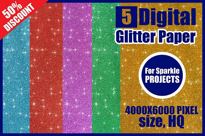 Digital Glitter Paper Texture, Glitter Sparkle Pages Pack