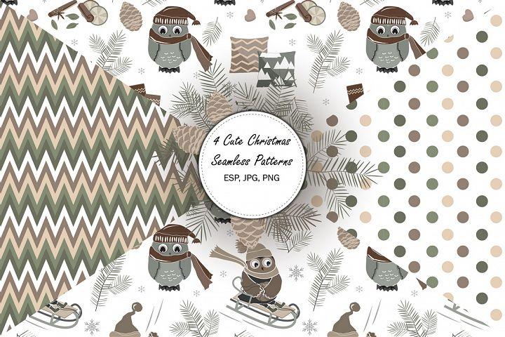 4 Cute Christmas Seamless Patterns