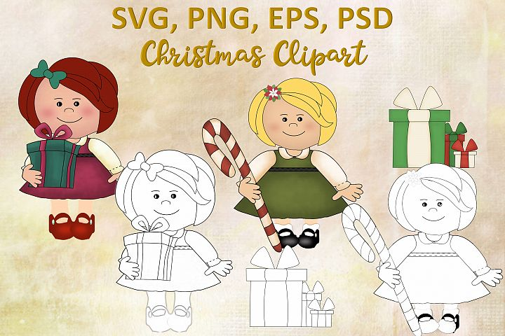 Christmas Clipart, Colouring &cutting files SVG EPS PNG