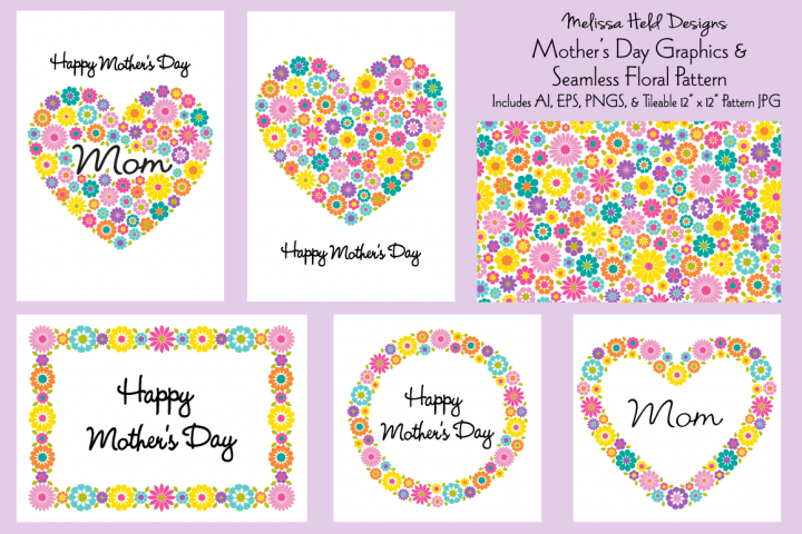 Mothers Day Graphics & Seamless Pattern