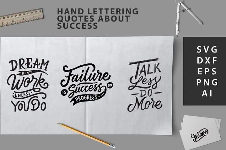 SVG Cut File - Hand lettering quotes about success