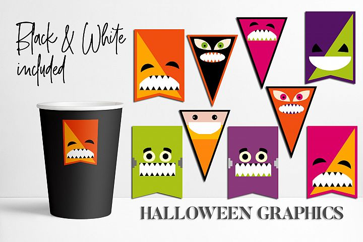 Halloween Party Pennant Banners Illustrations