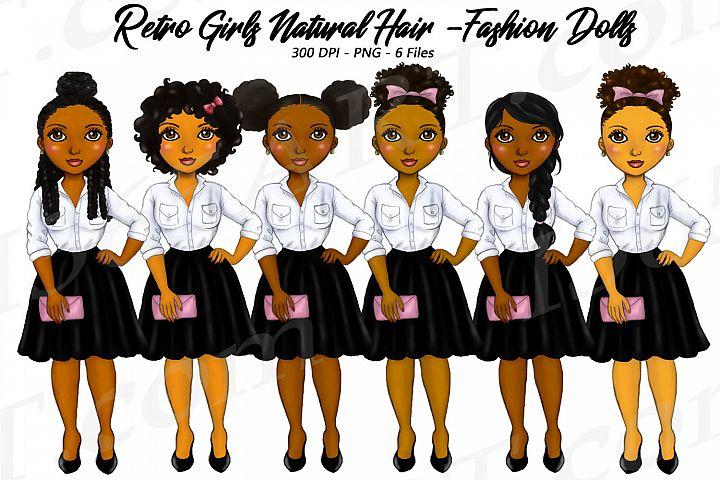 Retro Girls Clipart, Black Girls, Natural Hair, Fashion