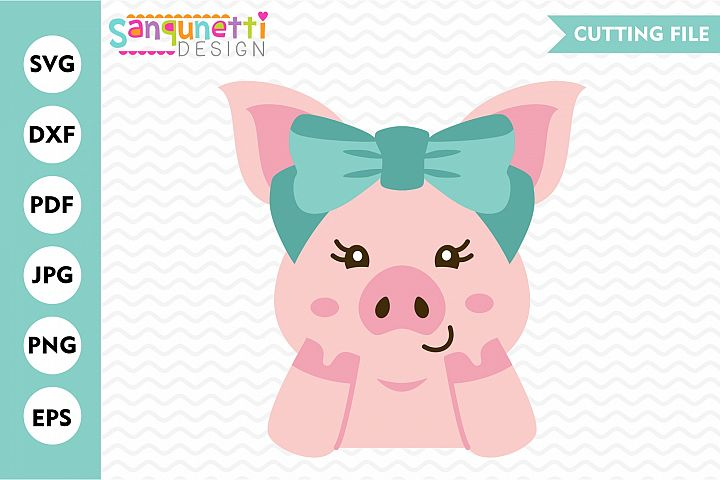 Pig with bow svg, girls farm animal digital art