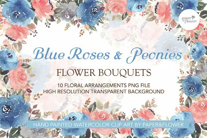 Vintage Blue Floral Watercolor Bouquet Set