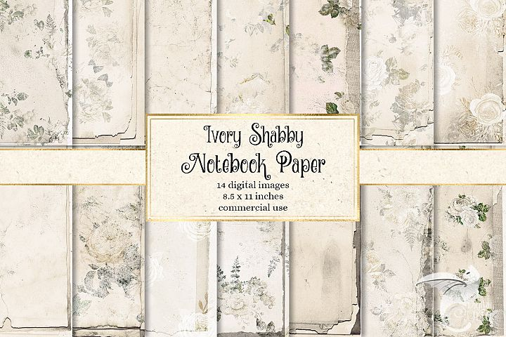 Ivory Shabby Notebook Paper