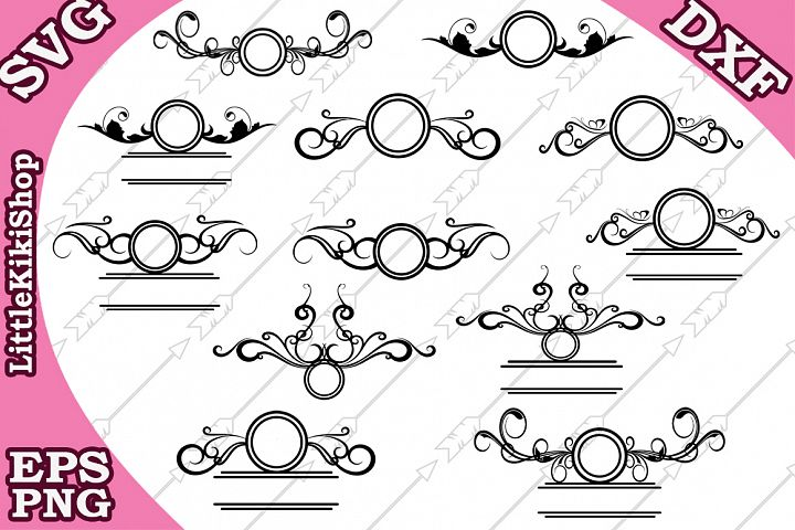 Flourish Monogram Svg,Flourish Frame Svg, Swirl Border Svg,