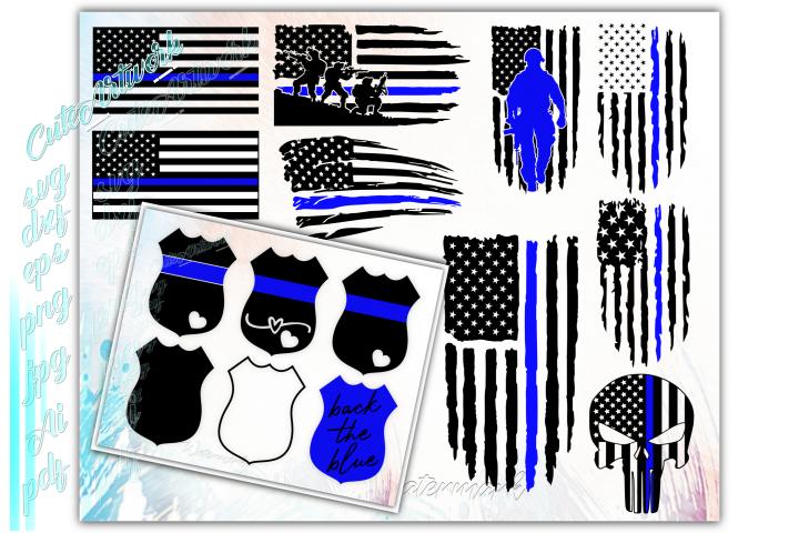 Police SVG, Back the blue svg, Thin blue line flag svg