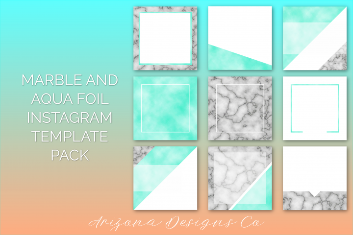 Marble and Aqua Foil Instagram Template Pack
