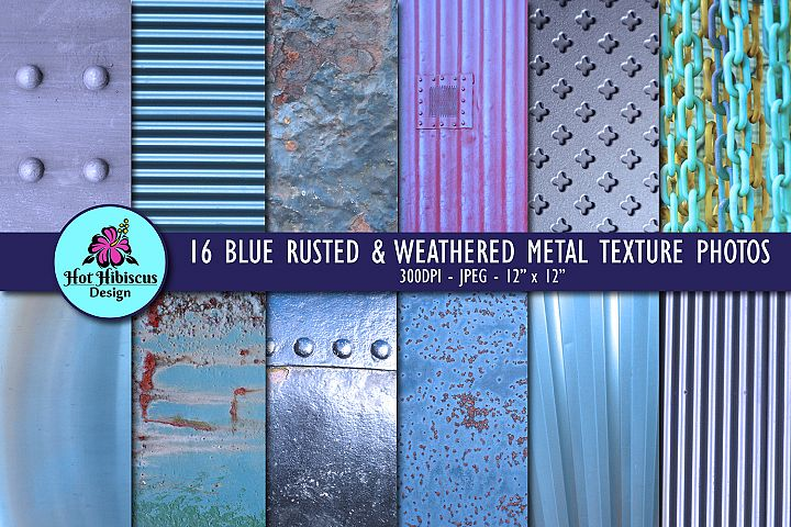 Blue Rusted Metal Weathered Metallic Texture Digital Papers