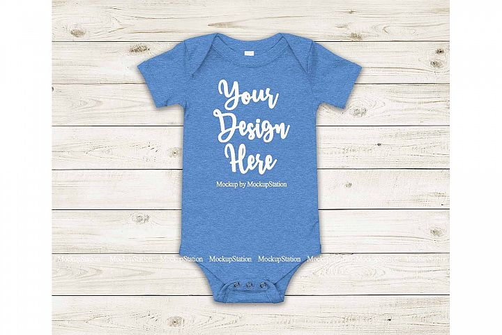 Baby Heather Blue Bodysuit Mockup, Blank Toddler One Piece
