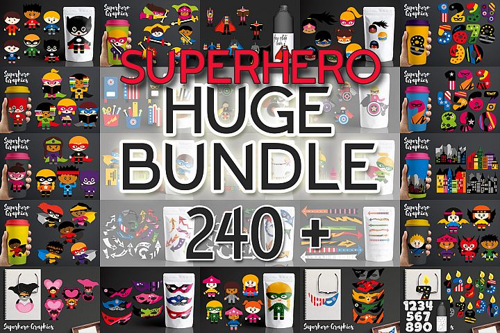 Illustrations Huge Bundle - Superhero Clip Art Graphics