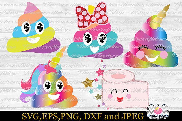 SVG, Eps, Dxf, Jpeg & Png Cutting Files For Poop Bundle