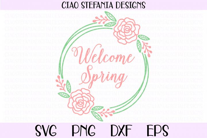 Welcome Spring Floral Geometric Circle Wreath SVG Cut File