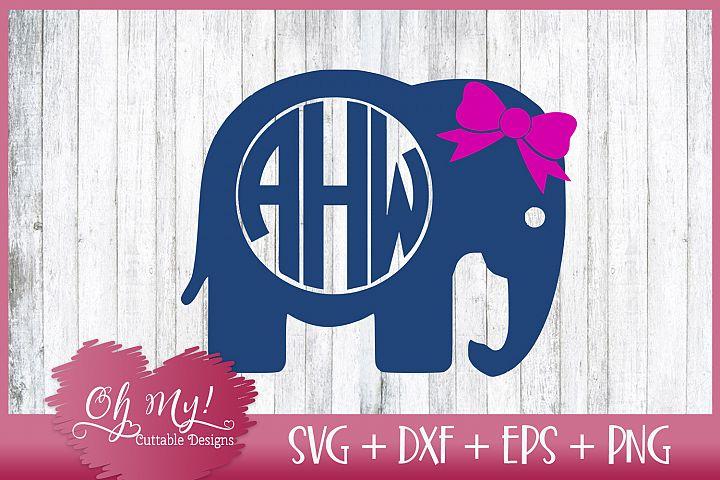 Elephant Monogram Frame - SVG DXF EPS PNG Cut File