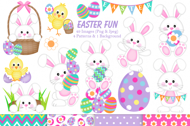 Easter clipart, Easter bunny graphics & illustrations - Free Design of The Week Font