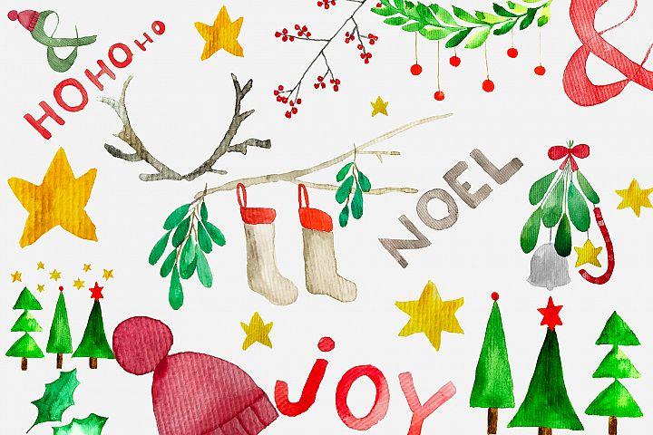 Festive Christmas watercolor clip art set